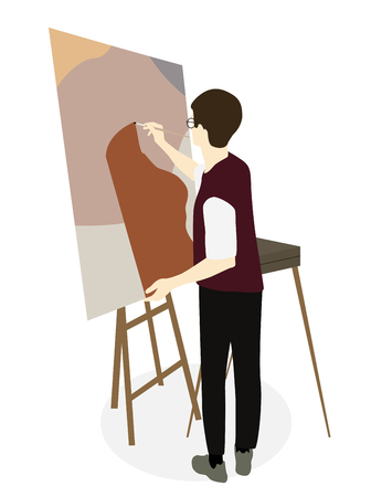 Silhouette of drawing artist on an easel. Vector Illustration. EPS10