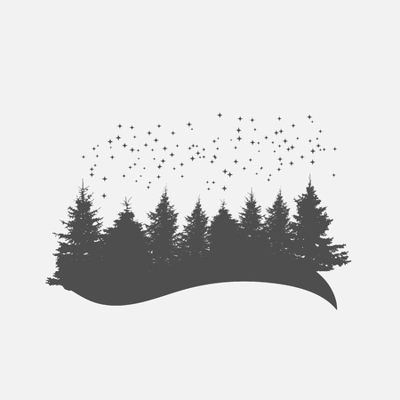 Camping Camp. Image of Nature. Tree Silhouette. Vector Illustration. EPS10