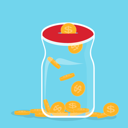 Glass bank with falling gold coins - Contribution to the Future. Vector Illustration. EPS10