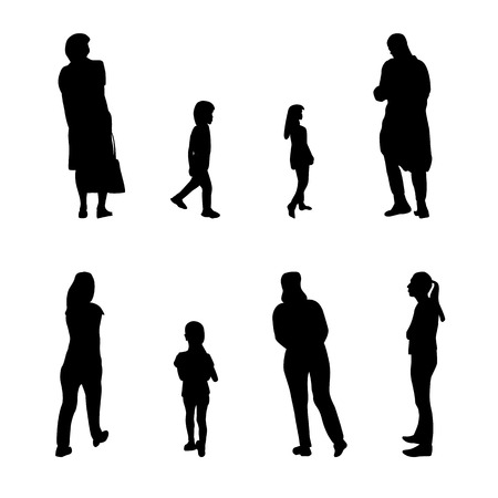 Set of Black and White Silhouette Walking People and Children. Vector Illustration. EPS10  イラスト・ベクター素材