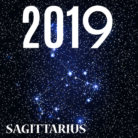 Symbol: Sagittarius Zodiac Sign with the New Year and Christmas 2019. Vector Illustration Illustration