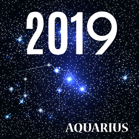 Symbol: Aquarius Zodiac Sign with the New Year and Christmas 2019. Vector Illustration 向量圖像