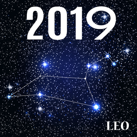 Symbol: Leo Zodiac Sign with the New Year and Christmas 2019. Vector Illustration
