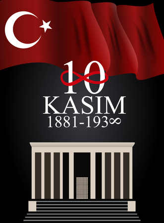 10 November founder of the Republic of Turkey Mustafa Kemal Ataturk death anniversary. English: November 10, 1881-1938. Vector Illustration