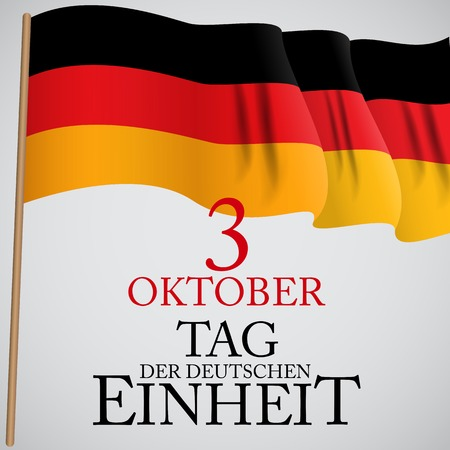 3 Oktober Tag der Deutschen Einheit. Translation: 3 october day of german unity. Vector Illustration