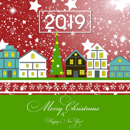 2019 Happy New Year and Marry Christmas Background. Vector Illustration. EPS10