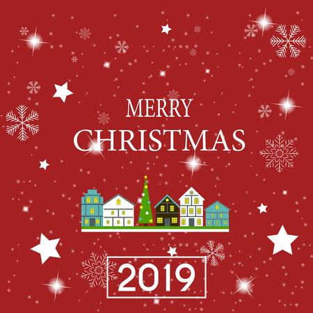 2019 gelukkig Nieuwjaar en trouwen met Kerstmis achtergrond. Vector illustratie Vector Illustratie