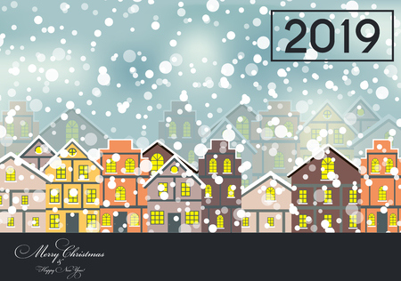 2019 Happy New Year and Marry Christmas Background. Vector Illustration Stock Photo