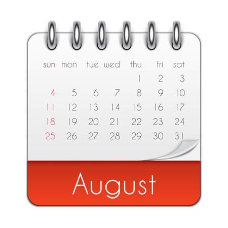 August 2019 Calendar Leaf Template Vector Illustration EPS10