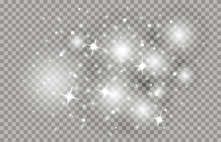 Star dust with bright sparkles, shining sparks. Fabulous Christmas sky on a transparent background. Illustration