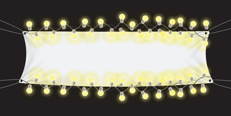 Naturalistic Tension banner with luminous bulbs with space for writing. Vector Illustration EPS10