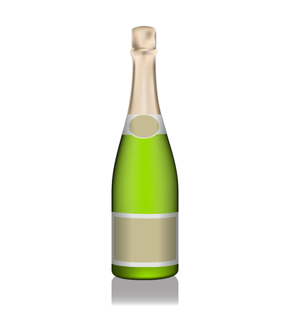 Naturalistic champagne green bottle with labels. Vector illustration. EPS10 Illustration