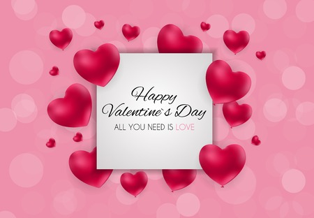 Valentines Day Heart  Love and Feelings Background Design. Vector illustration