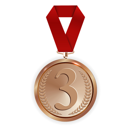 Champion Art Bronze Medal with Red Ribbon Icon Sign First Place Isolated on Transparent Background. Vector Illustration EPS10