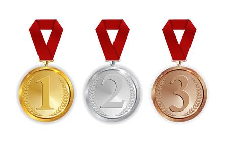 Campione Medaglia d'oro, d'argento e di bronzo con il segno rosso dell'icona del nastro Primo, secondo e terzo posto insieme di raccolta isolato su priorità bassa bianca. Illustrazione vettoriale Eps10
