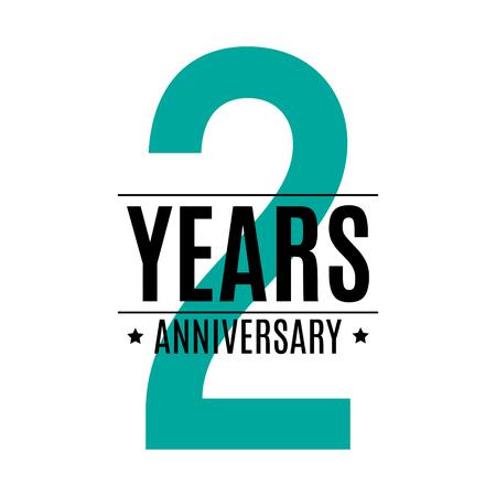 Template Logo 2 Years Anniversary Vector Illustration EPS10