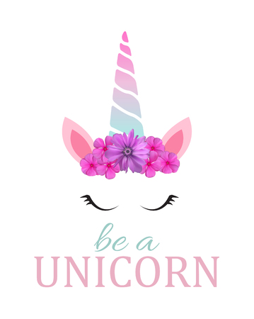 Cute be a unicorn background. Vector Illustration