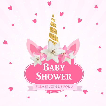 Baby shower with unicorn invitation. Vector Illustration EPS10 Vectores