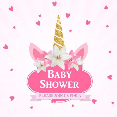 Douche de bébé avec invitation de licorne. Illustration vectorielle EPS10