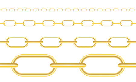 Naturalistic 3D Set of Chain of Silver and Steel Color. Vector Illustration. EPS10
