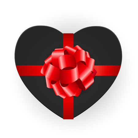 Heart shaped gift box with bow. Vector illustration EPS10