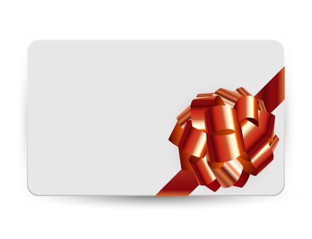 Plantilla de tarjeta de regalo con lazo y cinta ilustración vectorial EPS10