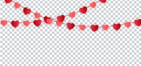 Red Paper hearts garland for Valentines Day Card. Vector Illustration. EPS10