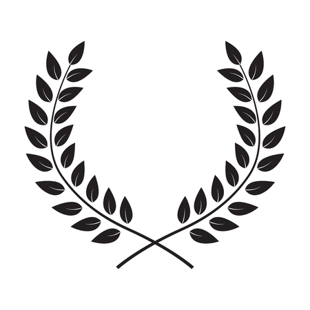 Award Laurel Wreath. Winner Leaf label,  Symbol of Victory. Vector Illustration 일러스트
