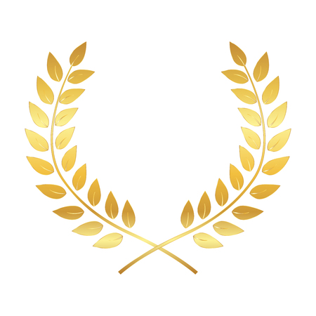 Golden Award Laurel Wreath. Winner Leaf label, Symbol of Victory. Vector Illustration