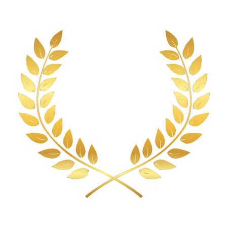 Golden Award Laurel Wreath. Winner Leaf label, Symbol of Victory. Vector Illustration