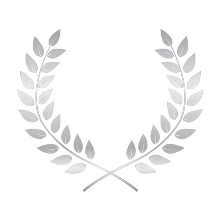 Silver Award Laurel Wreath. Winner Leaf label,  Symbol of Victory. Vector Illustration