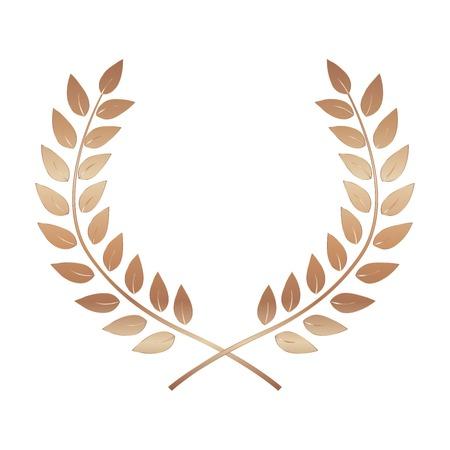 Bronze Award Laurel Wreath. Winner Leaf label, Symbol of Victory. Vector Illustration
