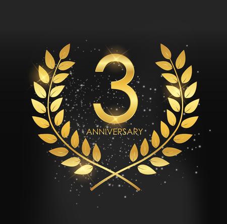 Template Logo 3 Years Anniversary Vector Illustration Illusztráció