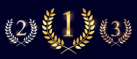 Couronne de Laurier d'or, d'argent et de bronze. Étiquette de feuille de gagnant, symbole de victoire. Illustration vectorielle