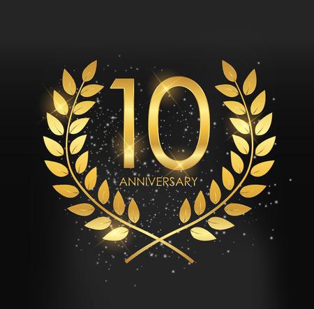 Schablonen-Logo 10 Years Anniversary Vector Illustration Logo