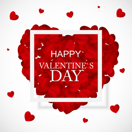 Happy Valentines Day Card with Heart. Vector Illustration eps10