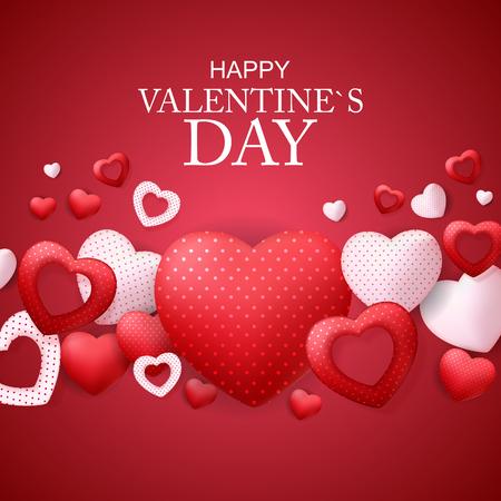 Happy Valentines Day Card with Heart. Vector Illustration Ilustração
