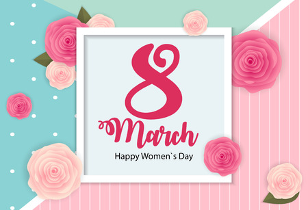 Poster International Happy Womens Day 8 March Floral Greeting card Vector Illustration EPS10