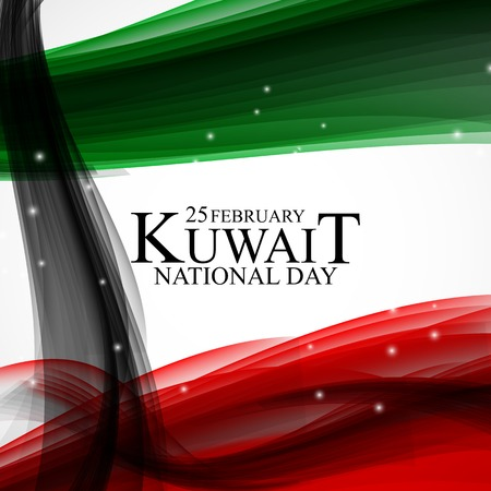 25 février fond de la fête nationale du Koweït Conception de modèle pour carte, bannière, affiche ou flyer. Illustration vectorielle