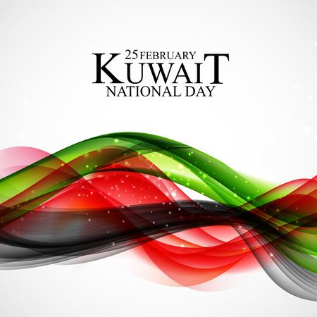25 février fond de la fête nationale du Koweït Conception de modèle pour carte, bannière, affiche ou flyer. Illustration vectorielle Vecteurs