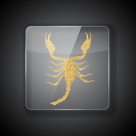 Glass Frame on dark Background with bright golden silhouette of scorpion. Vector Illustration. EPS10 Illustration