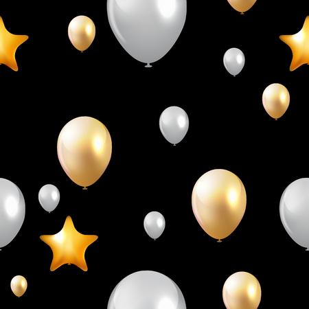Glossy Happy Birthday Balloons Background Vector Illustration eps10  イラスト・ベクター素材