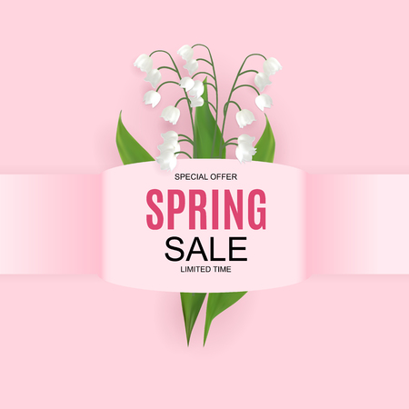 Spring Sale Cute Background with Colorful Flower Elements. Vector Illustration