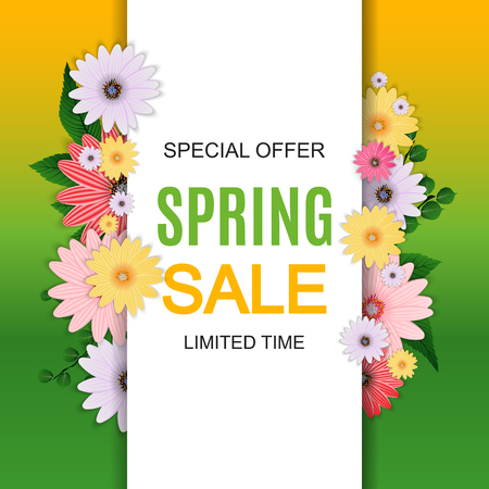Spring Sale Cute Background with Colorful Flower Elements. Vector Illustration EPS10