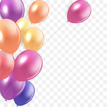 Glossy Happy Birthday Concept with Balloons isolated on transparent background. Vector Illustration eps10