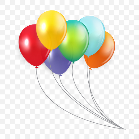 Glossy Happy Birthday Concept with Balloons isolated on transparent background. Vector Illustration EPS10 Иллюстрация