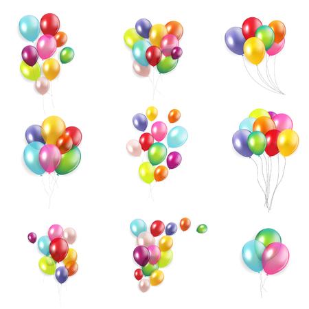 Concepto de feliz cumpleaños brillante con globos aislado sobre fondo blanco conjunto de colección. Ilustración vectorial eps10