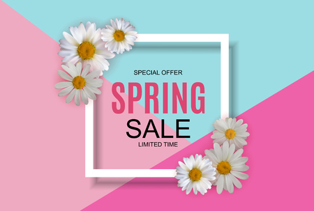 Lente verkoop leuke achtergrond met kleurrijke bloem elementen. Vector illustratie Eps10