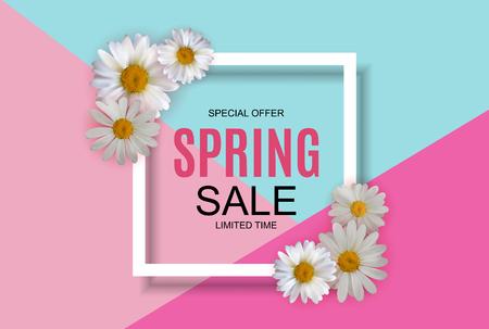 Netter Hintergrund des Frühlingsverkaufs mit bunten Blumenelementen. Vektor-Illustration EPS10