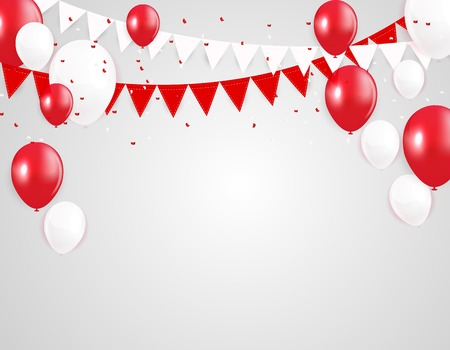 Glossy Happy Birthday Balloons Background Vector Illustration eps10 Иллюстрация